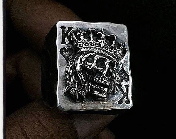 King of Hearts Texas Holdem Ring by Etherial Jewelry handmade from Pure Sterling Silver 925 Luxury Skull Jewelry Rings and Accessories