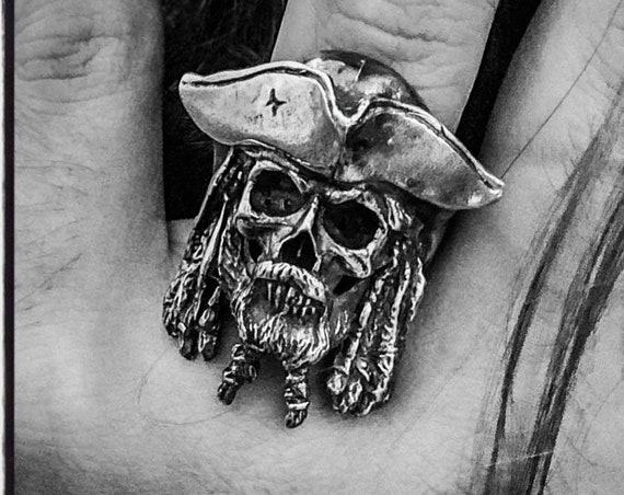 Etherial Jewelry - Rock Chic Talisman Luxury Biker Custom Handmade Artisan Pure Sterling Silver .925 Handcrafted Luxury Pirate Skull Ring