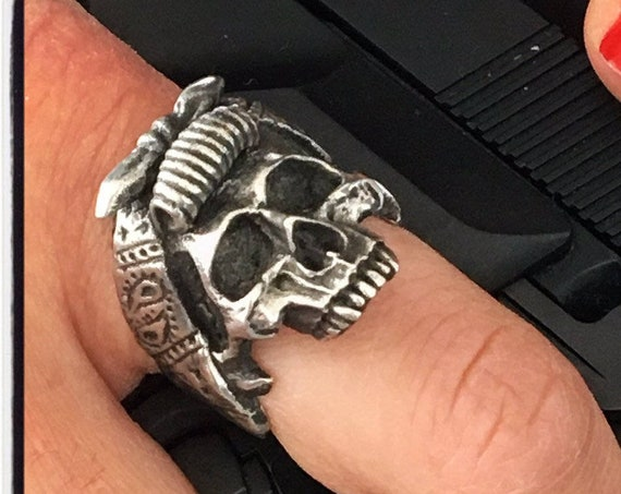 Etherial Jewelry Rock Chic Talisman Luxury Biker Custom Handmade Artisan Pure Sterling Silver .925 Bespoke Jawless Female Skull Badass Ring