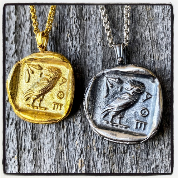 Athenian Tetradrachm Ancient Greek Coin Necklace Ancient Greek Coin Pendant Antique Wax Seal Pendant Wax Seal Necklace Owl Pendant Necklace