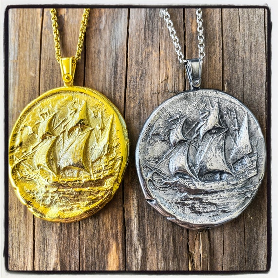 Flying Dutchman Wax Seal Pendant Ghost Galleon Necklace Ghost Galleon Pendant Ghost Ship Necklace Ghost Ship Pendant Pirate Ship Necklace