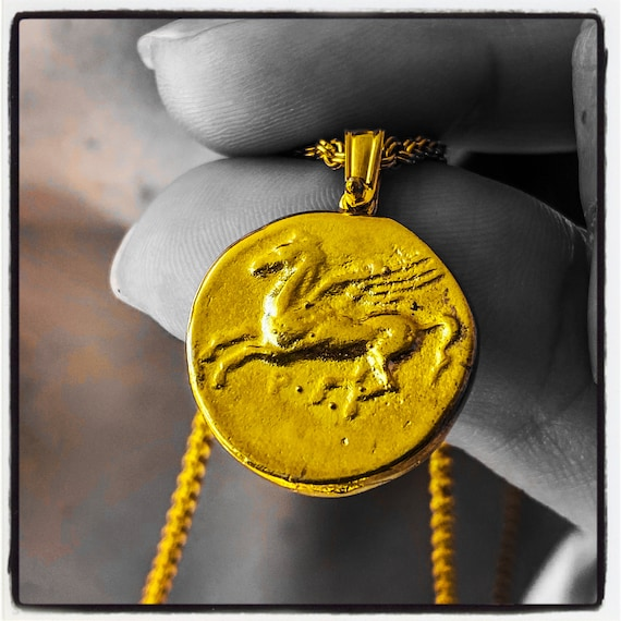 Stater of Corinth Ancient Greek Coin Necklace Pegasus Pendant Pegasus Necklace Ancient Greek Coin Pendant Horse Pendant Horse Necklace Greek