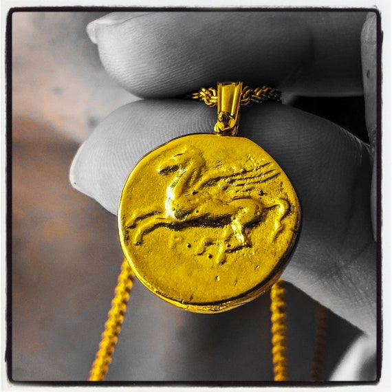 Stater of Corinth Ancient Greek Coin Necklace Pegasus Pendant Pegasus Necklace Horse Pendant Horse Necklace Wax Seal Pendant Wax Stamp Horse