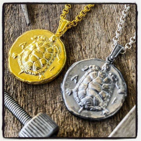 Stater of Aegina Ancient Greek Coin Necklace Ancient Greek Coin Pendant Turtle Pendant Turtle Necklace Tortoise Necklace Tortoise Pendant