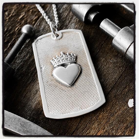 Heart Dog Tag Heart Pendant Heart Necklace Identification Necklace Identification Pendant Id Tag Id Necklace Army Pendant Dog Tag Necklace