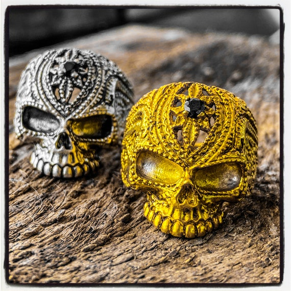 Dia De Los Muertos Ring Skull Ring Day of the Dead Ring Dia De Muertos Ring Memento Mori Ring Punisher Ring Skull Punisher Ring Masonic Ring