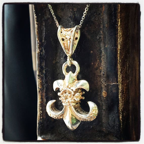 Etherial Jewelry Rock Chic Talisman Luxury Biker Custom Handmade Artisan Pure Sterling Silver .925 Bespoke Handcrafted Fleur De Lis Pendant
