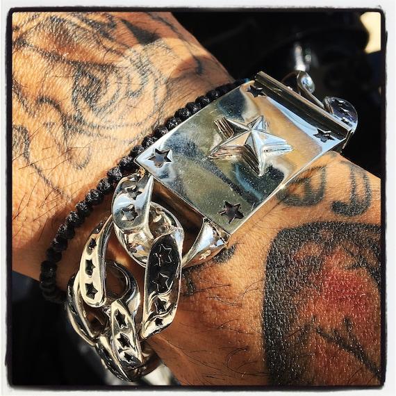 Etherial Jewelry - Rock Chic Talisman Luxury Biker Custom Artisan Pure Sterling Silver .925 Multi Stars Biker Bracelet