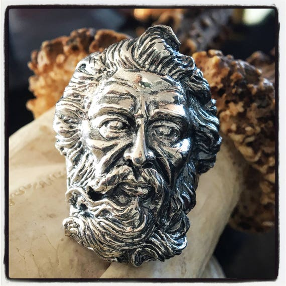 Etherial Jewelry  Rock Chic Talisman Luxury Biker Custom Handmade Artisan Pure Sterling Silver .925 Ancient Greek Face of Zeus Spartan Ring