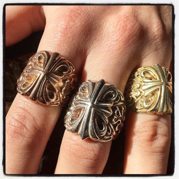 Etherial Jewelry - Rock Chic Talisman Luxury Biker Custom Handmade Artisan Pure Sterling Silver .925 Handcrafted Cross Templar Designer Ring