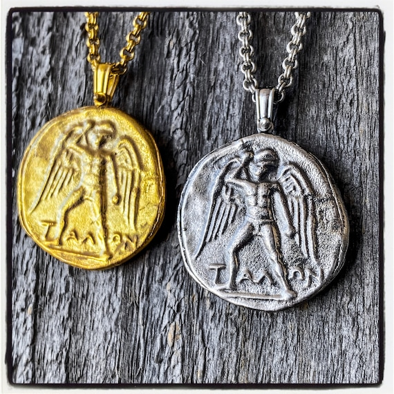 Phaistos Stater Ancient Greek Coin Necklace Ancient Greek Coin Pendant Antique Wax Seal Necklace Wax Seal Pendant Wax Seal Stamp Necklace