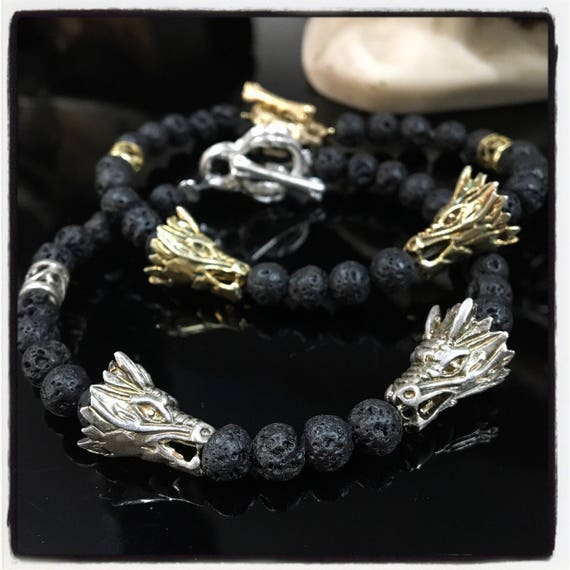 Etherial Jewelry - Rock Chic Talisman Luxury Custom Handmade Artisan Pure Sterling Silver .925 Double Dragons and Black Lava Stones Bracelet