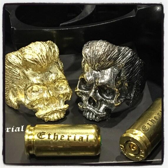 Etherial Jewelry - Rock Chic Talisman Luxury Biker Custom Handmade Artisan Pure Sterling Silver .925 Handcrafted Jawless Skull Badass Ring