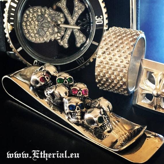 Etherial Jewelry Rock Chic Talisman Luxury Biker Custom Handmade Artisan Pure Sterling Silver .925 Skull Money Clip encrusted with Gemstones