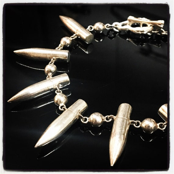 Etherial Jewelry - Rock Chic Talisman Luxury Biker Custom Handmade Artisan Pure Sterling Silver .925  Bullet Designer Badass Bracelet