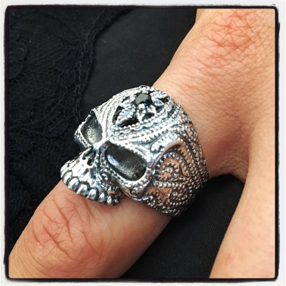 Etherial Jewelry - Rock Chic Talisman Luxury Biker Custom Handmade Artisan Pure Sterling Silver .925 Handcrafted Luxury Bespoke Skull Ring