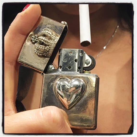 Etherial Jewelry - Rock Chic Talisman Luxury Biker Custom Handmade Artisan Pure Sterling Silver .925 Custom Heart and Crown Lighter Case