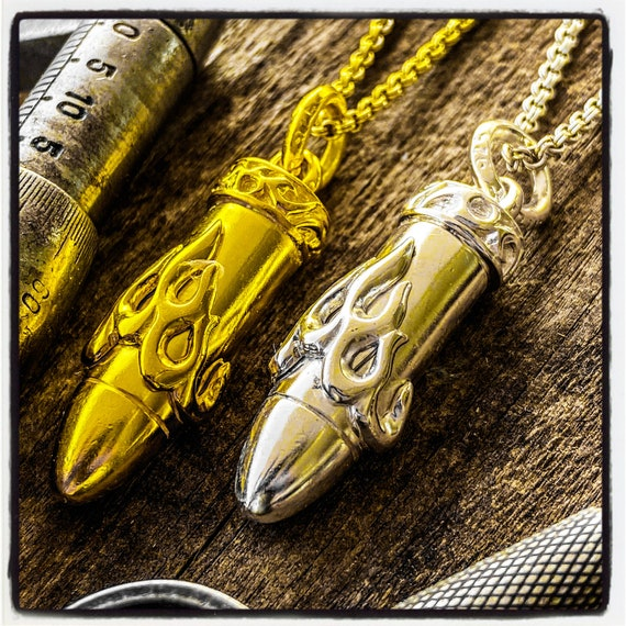 Bullet Pendant Bullet Necklace Flaming Bullet Pendant Gangster Pendant Mafia Necklace 9mm Bullet Necklace 9mm Bullet Pendant Police Pendant