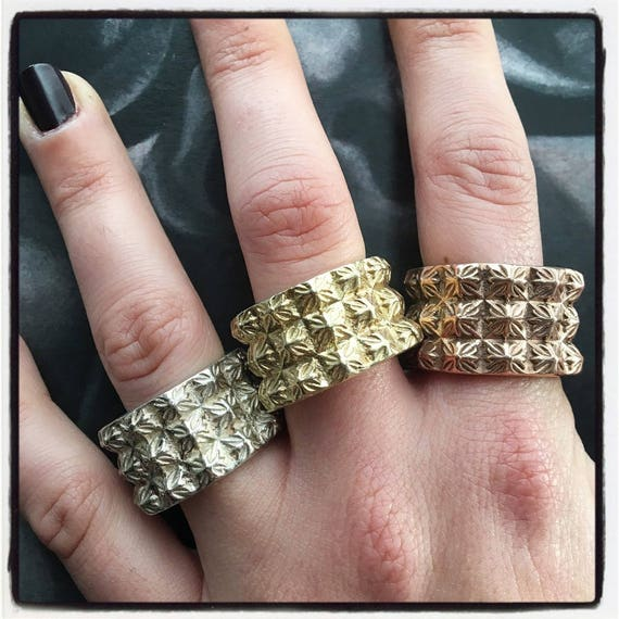Etherial Jewelry - Rock Chic Talisman Luxury Biker Custom Handmade Artisan Pure Sterling Silver .925  Pyramid Cross Studded Badass Ring