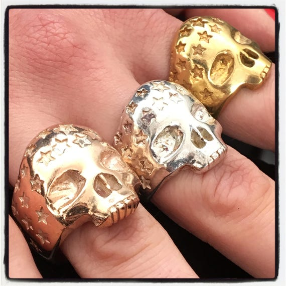 Etherial Jewelry - Rock Chic Talisman Luxury Biker Custom Handmade Artisan Pure Sterling Silver .925 Handcrafted Skull & Stars Designer Ring