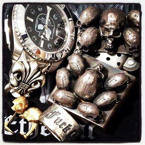 Etherial Jewelry - Rock Chic Talisman Luxury Biker Custom Handmade Artisan Pure Sterling Silver .925 Bespoke Handcrafted Skull Lighter Case