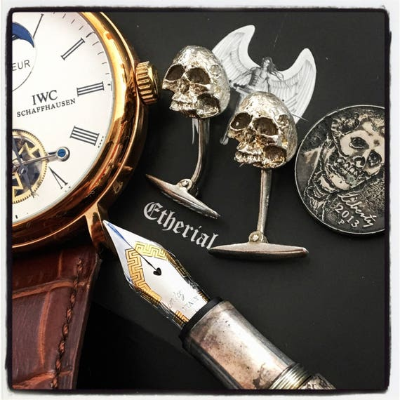 Etherial Jewelry - Rock Chic Talisman Luxury Biker Custom Handmade Artisan Pure Sterling Silver .925 Bespoke Skull Badass Cuff Links