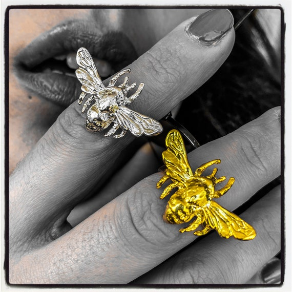 Bee Ring Bumblebee Ring Wasp Ring Fly Ring Honey Bee Ring Silver Bee Ring Gold Bee Ring handmade by Etherial using Pure Sterling Silver .925