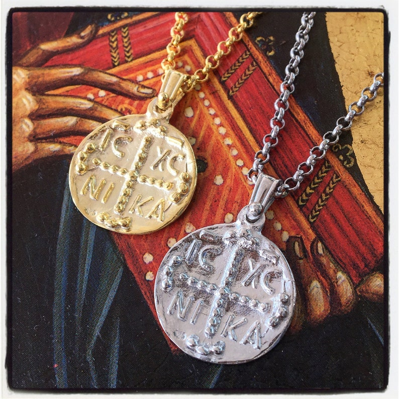 Christogram Pendant Crucifix Pendant Silver Cross Pendant Byzantine Pendant  Byzantine Necklace Jesus Pendant Emperor Constantine Pendant