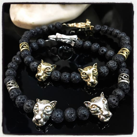 Etherial Jewelry - Rock Chic Talisman Luxury Custom Handmade Artisan Pure Sterling Silver .925 Double Tiger with Black Lava Stones Bracelet
