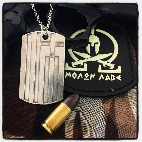 Etherial Sterling Silver .925 Talisman Luxury Designer Handcrafted Large Heavy Accurate Greek Flag Dog Tag Pendant with Cross and 9 Stripes