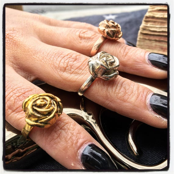 Etherial Jewelry - Rock Chic Talisman Luxury Biker Custom Handmade Artisan Pure Sterling Silver .925 Bespoke Blooming Desert Rose Ring