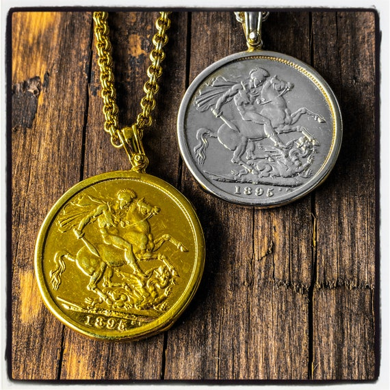 Gold Sovereign Coin Pendant Silver Sovereign Coin Necklace St George Coin Pendant Queen Victoria Gold Coin Pendant Queen Victoria Necklace