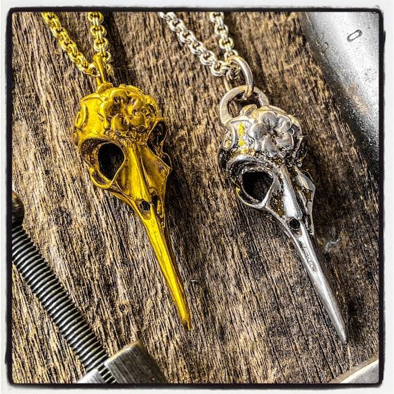 Raven Skull Pendant Raven Skull Necklace Raven Skull Pendant Crow Skull Pendant Crow Skull Necklace Bird Skull Pendant Skull Bird Necklace