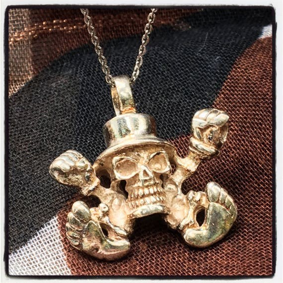 Etherial Jewelry - Rock Chic Talisman Luxury Biker Custom Handmade Artisan Pure Sterling Silver .925 Handcrafted Skull Rocker Pendant