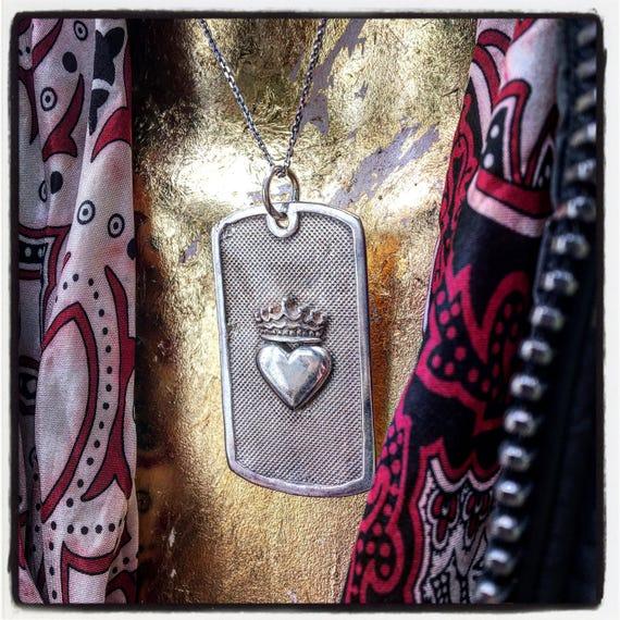 Etherial Jewelry - Rock Chic Talisman Luxury Biker Custom Handmade Artisan Pure Sterling Silver .925 Sacred Heart and Crown Badass Dog Tag