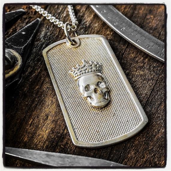 Skull Dog Tag Skull Pendant Skull Necklace Identification Necklace Identification Pendant Id Tag Id Necklace Army Pendant Skull Identity Tag