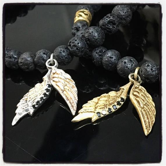 Etherial Jewelry - Rock Chic Talisman Luxury Custom Handmade Artisan Pure Sterling Silver .925 Wings and Black Lava Stones Bracelet