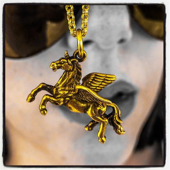 Pegasus Anhänger Sterling Silber Pegasus Halskette geflügelten Pferd Anhänger geflügelte Pferd Halskette Einhorn Anhänger Einhorn Halskette antiken