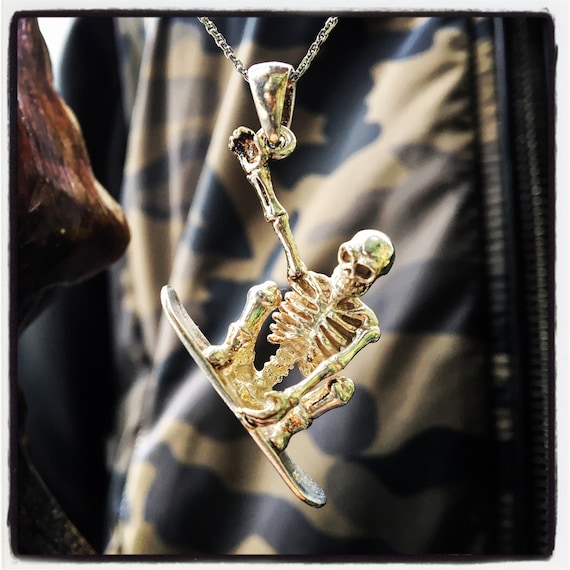 Skull Pendant Snowboard Skull Pendant Surfer Skull Pendant by Etherial Jewelry made from Pure Sterling Silver 925 Luxury Pendants Jewelry