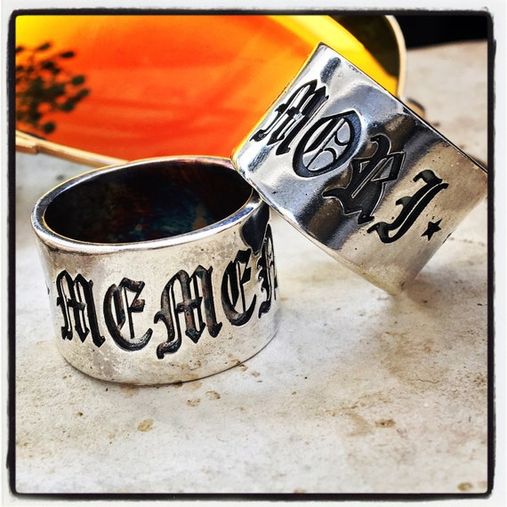 "Etherial Jewelry Rock Chic Talisman Luxury Biker Custom Handmade Artisan Pure Sterling Silver .925 ""Memento Mori"" Band Stack Designer Ring"