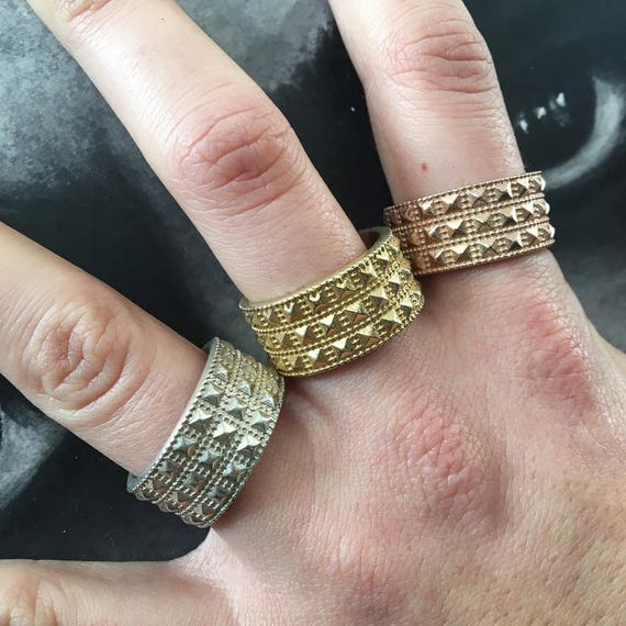 Etherial Jewelry Rock Chic Talisman Luxury Biker Custom Handmade Artisan Pure Sterling Silver .925 Pyramid Stackable Band Stack Ring