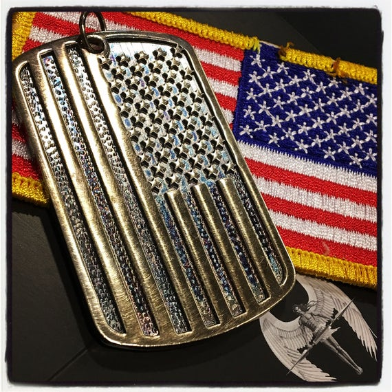 American Flag Dog Tag American Flag Pendant  by Etherial Jewelry made from Pure Sterling Silver 925 Luxury Pendants Jewelry and Accessories