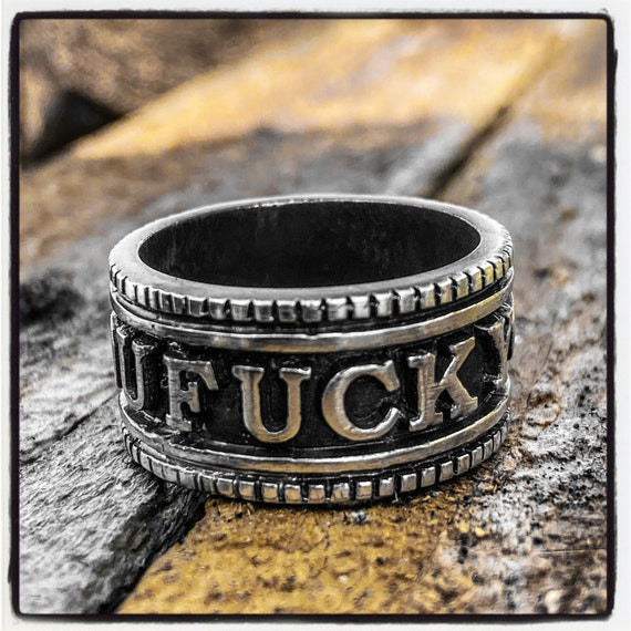 Sterling Silver Fuck You Ring Fuck Ring Sterling Silver Fuck Ring Statement Ring Coin Ring Coin Band Ring Statement Band Ring Wedding Ring