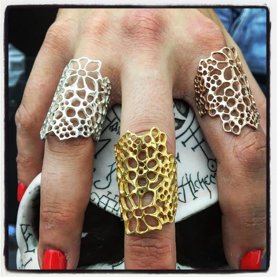 Etherial Jewelry Rock Chic Talisman Luxury Biker Custom Handmade Artisan Pure Sterling Silver .925 Designer Luxury Summer Floral Flower Ring