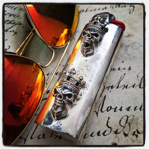 Etherial Jewelry - Rock Chic Luxury Biker Custom Handmade Artisan Pure Sterling Silver .925 Custom Skull Large Lighter Case Holder