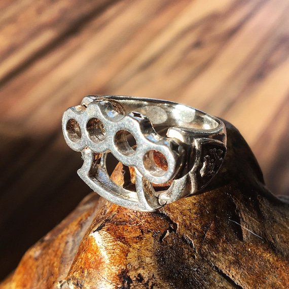 Etherial Jewelry - Rock Chic Talisman Luxury Biker Custom Handmade Artisan Pure Sterling Silver .925 Handcrafted Badass Knuckle Duster Ring