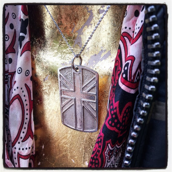 Etherial Jewelry - Rock Chic Talisman Luxury Biker Custom Handmade Artisan Pure Sterling Silver .925 Handcrafted Union Jack Dog Tag Pendant