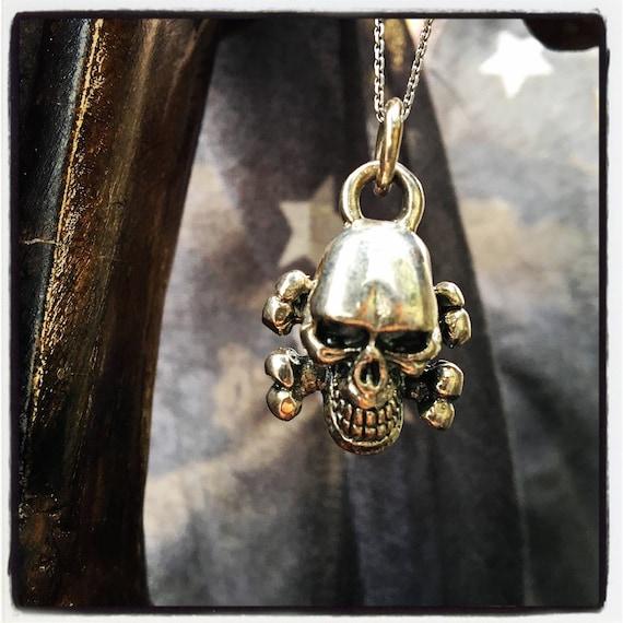 Etherial Jewelry Rock Chic Talisman Luxury Biker Custom Handmade Artisan Pure Sterling Silver .925 Bespoke Handcrafted Skull & Bones Pendant