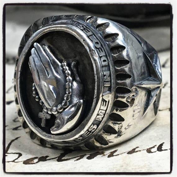 Etherial Jewelry -  Rock Chic Talisman Luxury Biker Custom Handmade Artisan Pure Sterling Silver .925 Praying Hands & Rosary Antique Ring