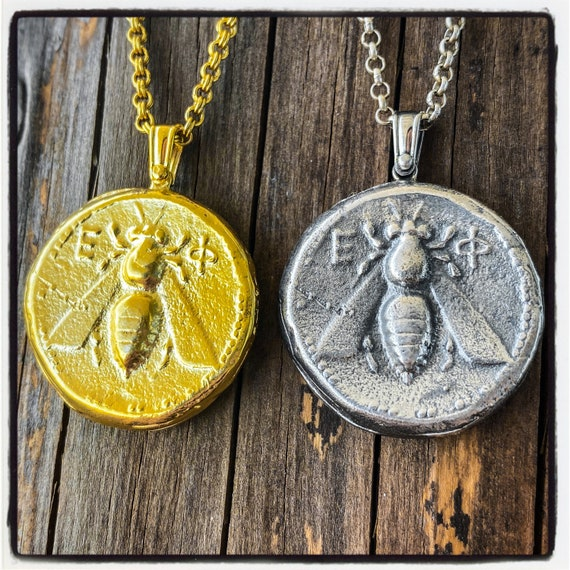 Ionian Tetradrachm Coin Pendant Ancient Greek Coin Necklace Ancient Greek Coin Pendant Ancient Roman Coin Necklace Bee Necklace Bee Pendant